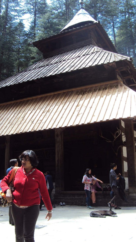 Wooden temple with slate roofs