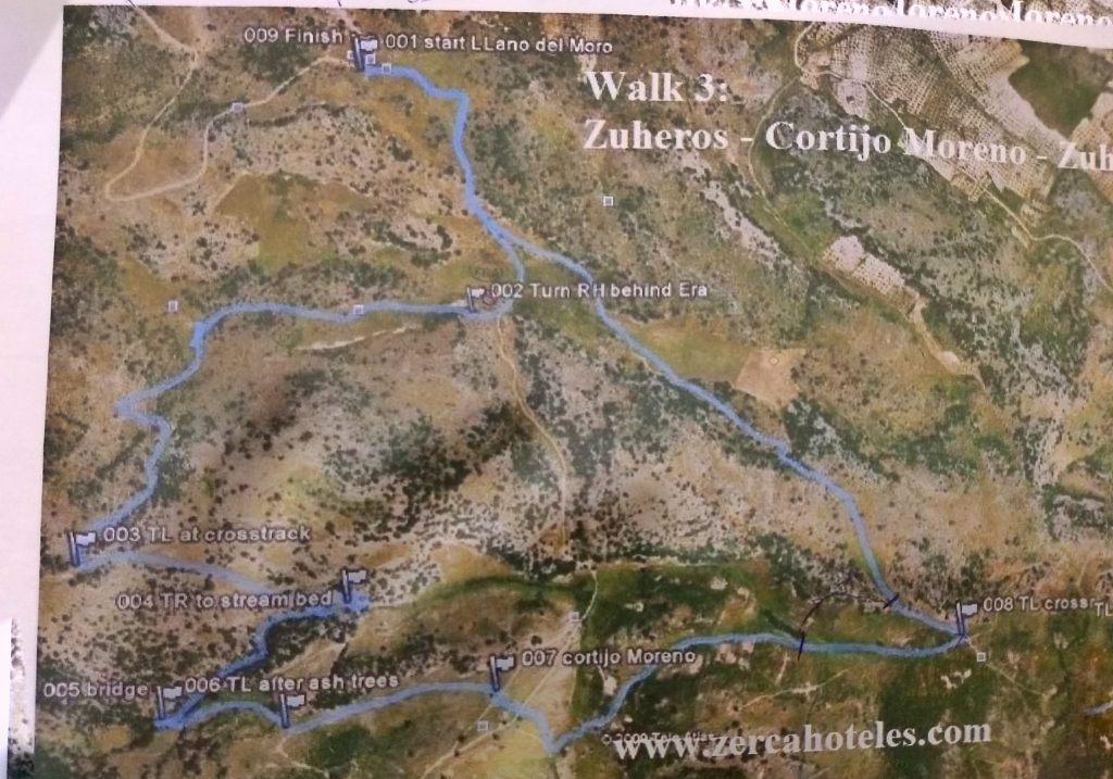 Lost on a solo hike: Trail Map in Sierra Subbetica mountains near Zuheros