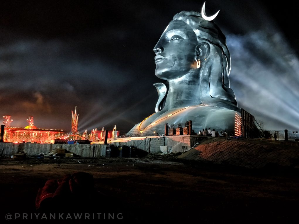 Adiyogi lit up for mahashivratri